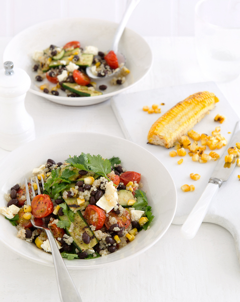 Quinoa Salad with Roasted Corn, Black Beans & Feta