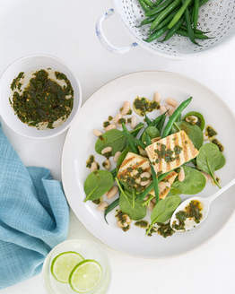 Chimichurri Tofu with Bean Salad