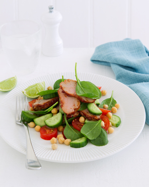 Marinated Pork with Baby Spinach & Cucumber