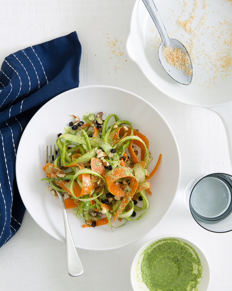 Carrot & Asparagus Noodles with Coriander & Coconut Dressing