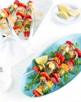 Smokey Vegetable Kebabs with Lemony Rocket Salad
