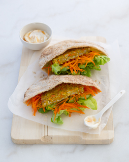 Indian Lentil Burger Pocket