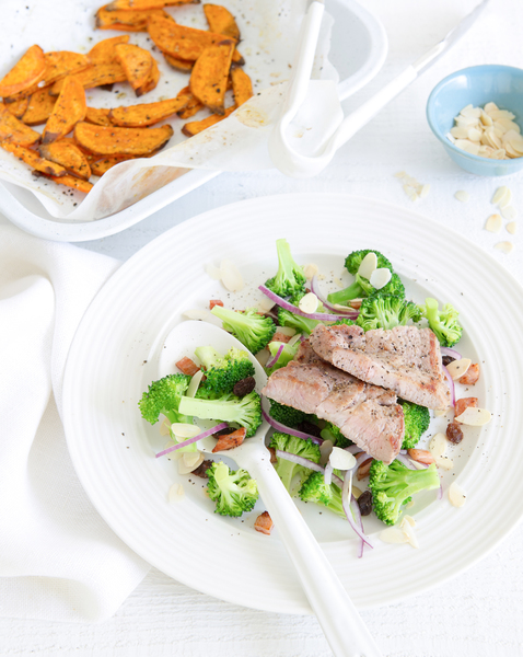 Pork with Sweet Potato Chips & Salad