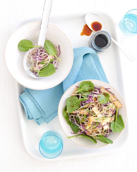 Soba Noodle, Tofu & Cabbage Salad with Ginger Dressing