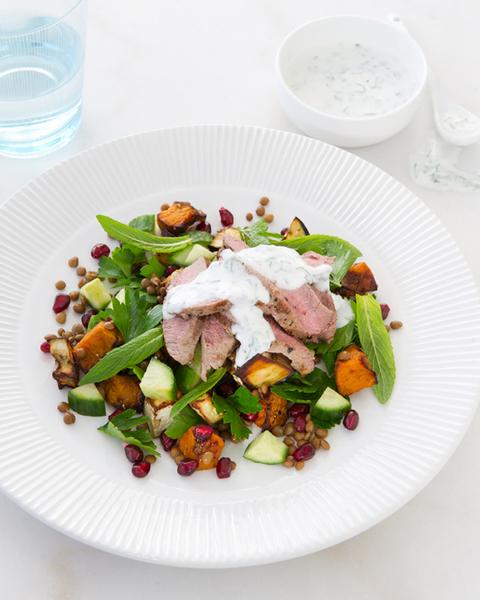 Warm Lamb, Pumpkin & Pomegranate Salad with Mint Yoghurt Dressing
