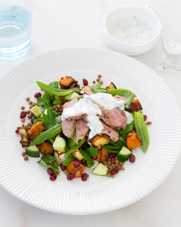 Warm Lamb, Pumpkin & Pomegranate Salad with Mint Yoghurt Dressing