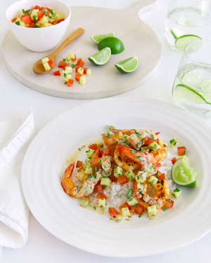 Barbecued Prawns with Salsa