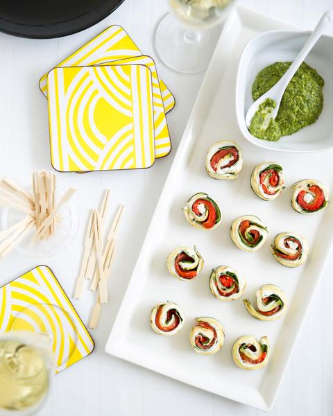 Grilled Zucchini, Capsicum & Feta Cheese Pinwheels