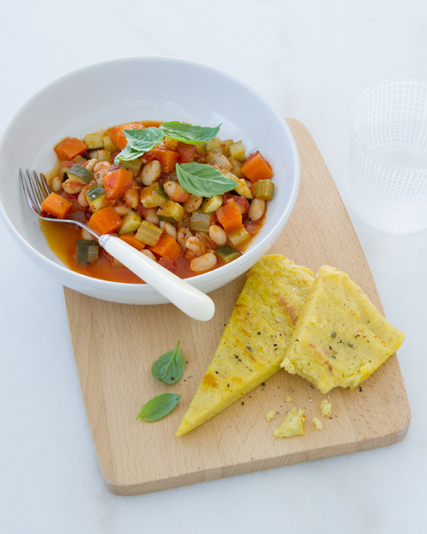 Cannellini Bean Stew with Crispy Polenta