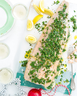 Herbed Stuffed Barbecue Salmon with Herb Tapenade