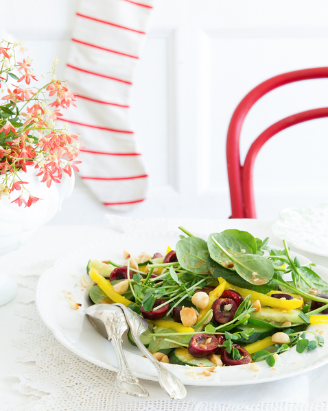 Cherry, Macadamia & Spinach Salad