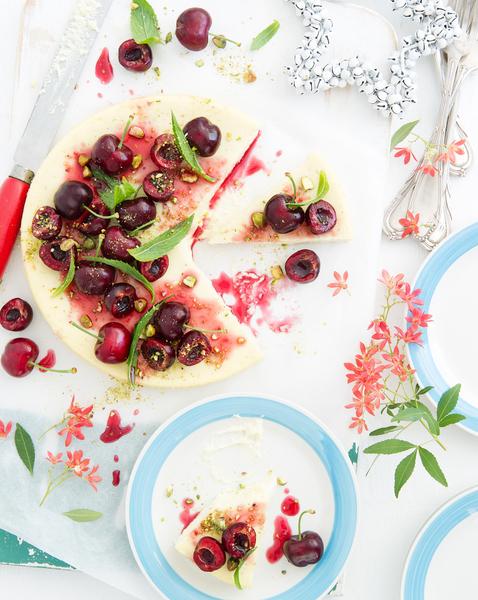 Lime & Vanilla Cheesecake with Honeyed Cherries