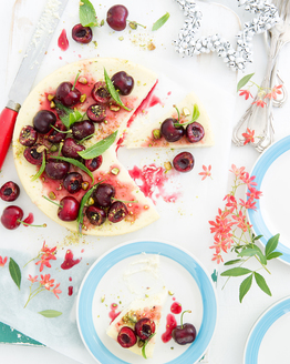 Lime & Vanilla Cheesecake with Honeyed Cherries