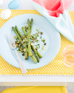 Chargrilled Asparagus with Crispy Capers & Lemon