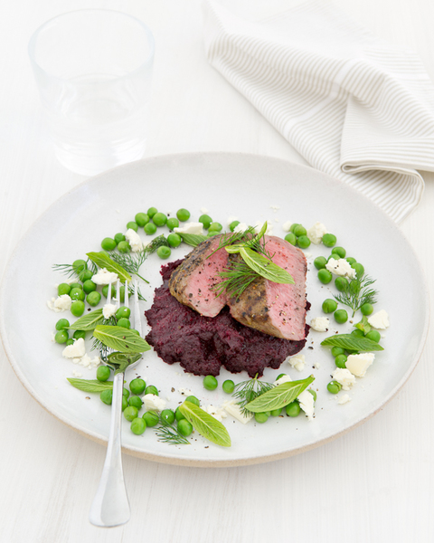 Lamb with Beetroot Puree & Herbed Peas
