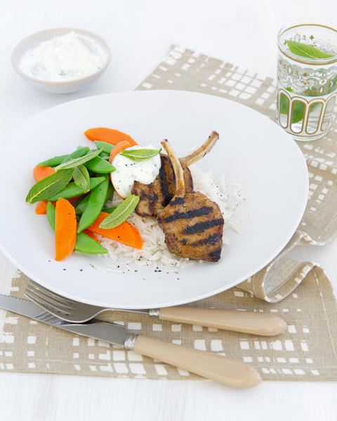 Korma Lamb Cutlets with Mint Yoghurt & Rice