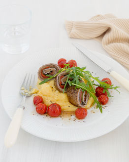 Veal Involtini with Parmesan Polenta & Roast Cherry Tomatoes