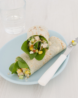 Chicken Wrap with Cottage Cheese, Corn & Chives