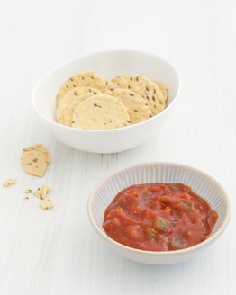 Rice Crackers with Salsa