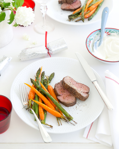 Zaatar Beef with Yoghurt Sauce & Warm Roast Carrot & Asparagus Salad