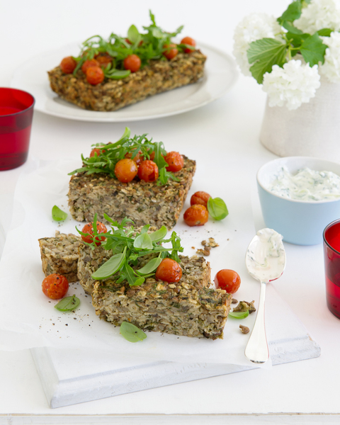 Herbed Lentil Loaf with Roast Tomatoes & Rocket