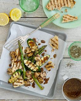 Barbecued Tofu, Asparagus & Mushrooms