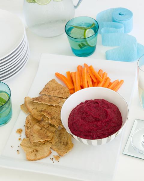 Beetroot Dip with Carrot Crudités & Cumin Crisps