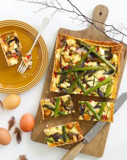 Roasted Vegetable & Asparagus Tart