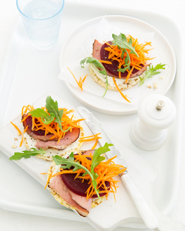 Pastrami, Horseradish Cream, Beetroot & Rocket Corn Thins
