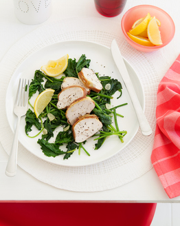 Prosciutto Wrapped Chicken with Wilted Greens
