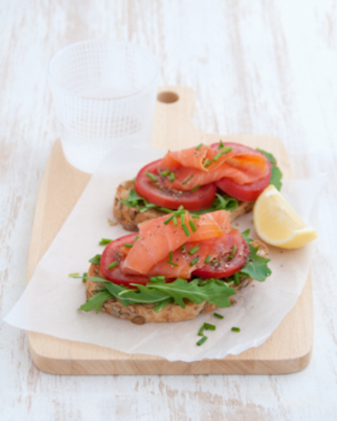 Smoked Salmon & Tomato on Toast with Baby Rocket