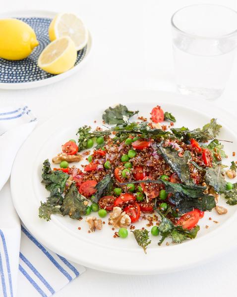 Red Quinoa Salad with Kale Crumbs