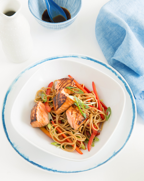 Wasabi & Soy Marinated Salmon with Noodles