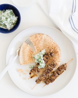 Satay Beef Skewers with Minty Yoghurt