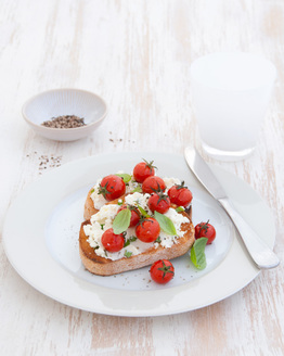 Ricotta & Basil Toast with Roast Tomatoes