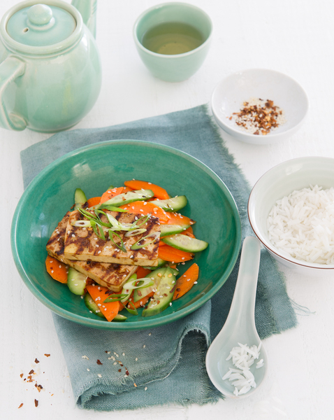 Barbecued Tofu with Pickled Cucumber & Carrot Salad