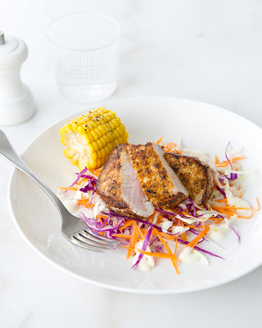 Cajun Pork with Coleslaw & Sweetcorn