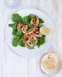 Chilli Lemon Prawns with Rocket