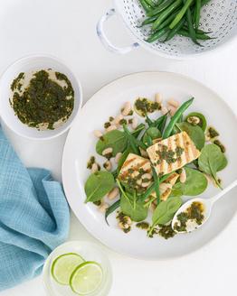 Chimichurri Tofu with Bean Salad