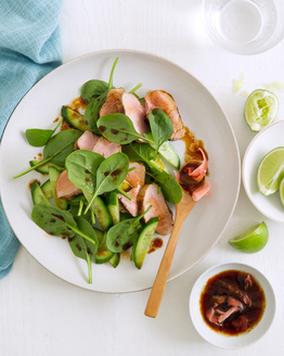 Soy & Wasabi Pork with Spinach Salad