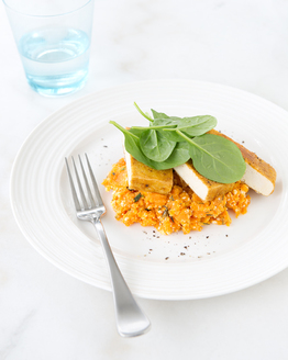 Spiced Tempeh with Sweet Potato Mash & Baby Spinach