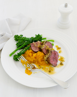 Kangaroo & Mashed Pumpkin with Mango & Ginger Glaze