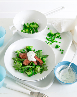 Kangaroo with Herbed Yoghurt & Pea Salad