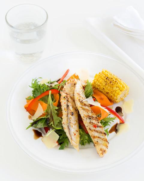 Marinated Chilli Fish with BBQ Corn
