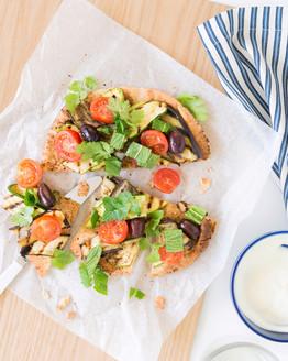 Middle Eastern Eggplant & Zucchini Pizza