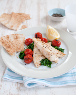 Pan-fried Fish with Cherry Tomatoes & Wilted Spinach