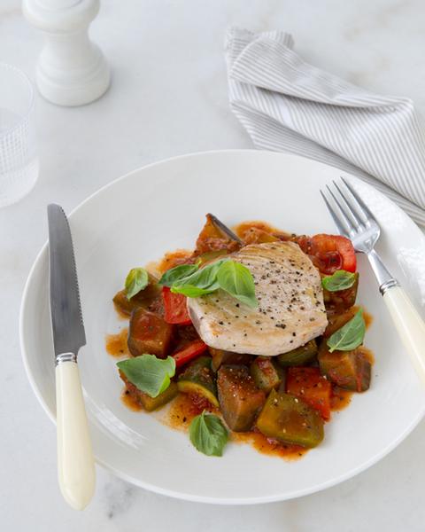 LOW FODMAP Pan-fried Fish with Ratatouille & Basil