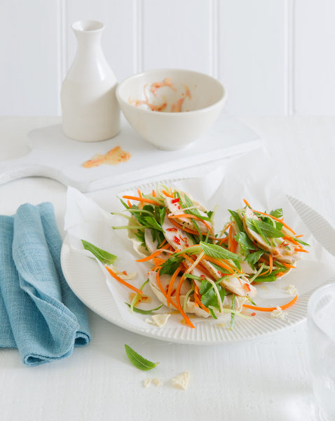 Pappadums with Chicken, Mint & Lime Salad
