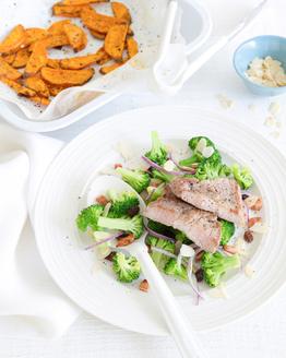 Pork with Sweet Potato Chips & Salad