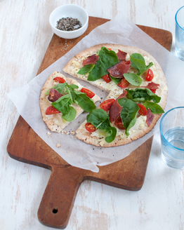 Prosciutto & Ricotta Pizza with Rocket & Cherry Tomatoes  - single serve